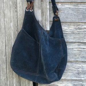 Lucky Brand blue suede vintage hobo bag